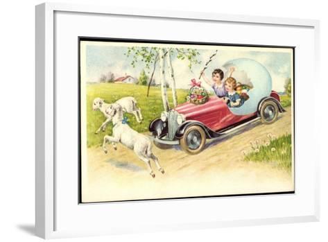 Künstler Frohe Ostern, Lämmer, Auto, Osterei, Amag--Framed Art Print