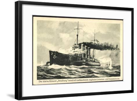 Kriegsschiff Stra?burg Schie?t Auf Torpedoboote--Framed Art Print