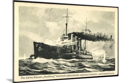 Kriegsschiff Stra?burg Schie?t Auf Torpedoboote--Mounted Giclee Print