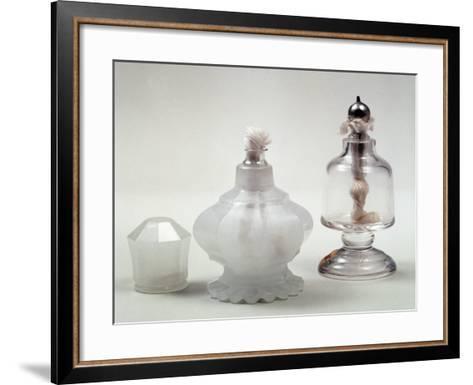 Glass Fragrance Lamp in Engraved Alabaster Glass with Metal Frame--Framed Art Print