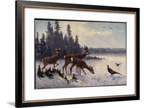 K?nstler M?ller, Rehe Im Wald, Winter, Fasane, V?gel--Framed Art Print