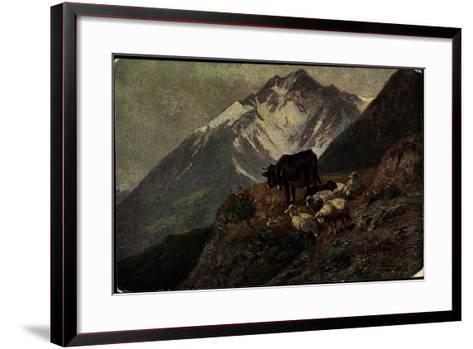 K?nstler Christian Mali, Hochgebirge, Kuh, L?mmer, Abhang--Framed Art Print