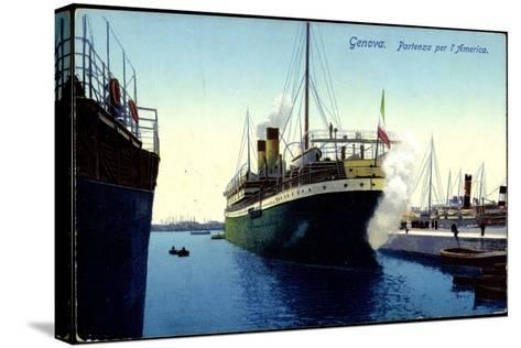 Genua Liguria, Partenza Per L'America, Dampfer, Hafen--Stretched Canvas Print