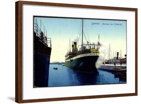 Genua Liguria, Partenza Per L'America, Dampfer, Hafen--Framed Art Print