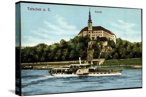 Tetschen Ústecký Kraj, Dampfer König Albert, Schloß--Stretched Canvas Print