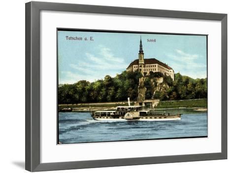 Tetschen Ústecký Kraj, Dampfer König Albert, Schloß--Framed Art Print
