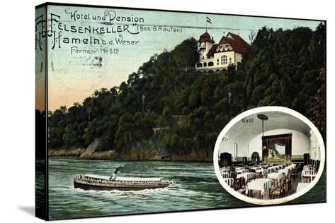 Hameln, Hotel U. Pension Felsenkeller, Saal, Dampfer--Stretched Canvas Print