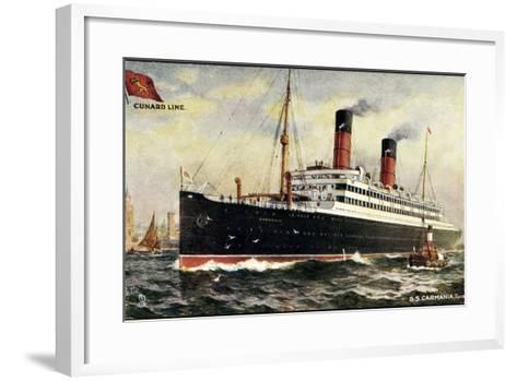 K?nstler Cunard Line, S.S. Carmania, Dampfschiff--Framed Art Print