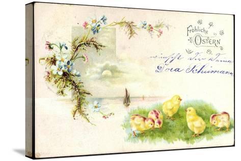 Litho Glückwunsch Ostern, Küken Auf Der Wiese, Blumen--Stretched Canvas Print
