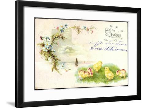Litho Glückwunsch Ostern, Küken Auf Der Wiese, Blumen--Framed Art Print
