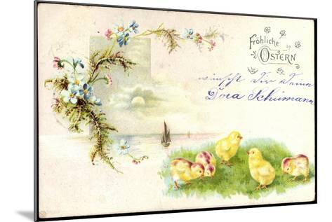 Litho Glückwunsch Ostern, Küken Auf Der Wiese, Blumen--Mounted Giclee Print