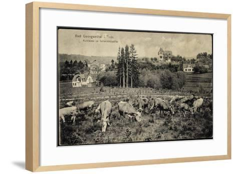 Georgenthal Thüringen, Kuhherde Im Schwimmbachtal, Berge--Framed Art Print