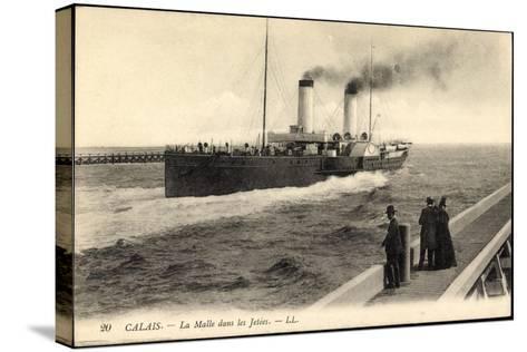 Calais, Dampfschiff La Malle, Menschen Auf Dem Steg--Stretched Canvas Print