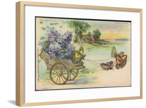 Haltgegendaslicht Litho Schmetterlinge, Blumenwagen, Kitsch, Meteor Drgm 88690--Framed Art Print