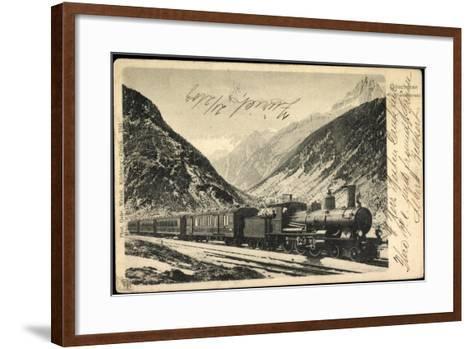 Eisenbahnen, Schweiz, Göschenen, Gotthardexpress,Lok--Framed Art Print