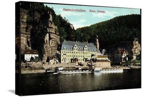 Herrnskretschen Region Aussig, Dampfer Schandau--Stretched Canvas Print
