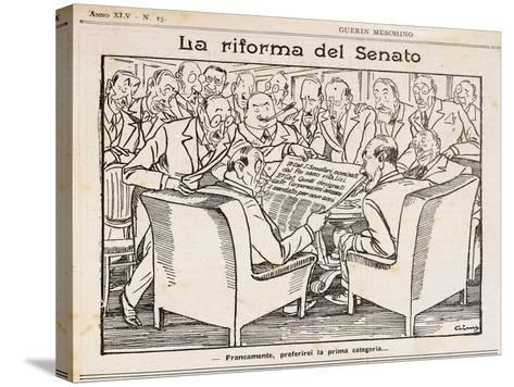 Reform of Senate, Cartoon from Guerin Meschino, 1926, Italy--Stretched Canvas Print