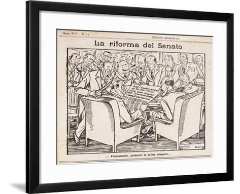 Reform of Senate, Cartoon from Guerin Meschino, 1926, Italy--Framed Art Print