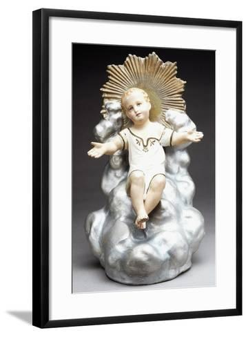 Figurine of Infant Jesus Sitting on Throne of Clouds, Italy--Framed Art Print