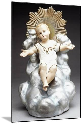 Figurine of Infant Jesus Sitting on Throne of Clouds, Italy--Mounted Giclee Print