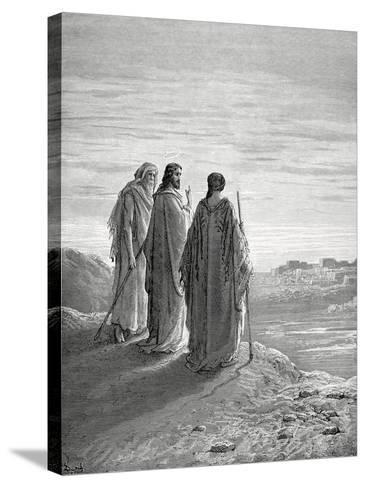 Jesus and the Disciples of Emmaus. Engraving. 19th Century.--Stretched Canvas Print