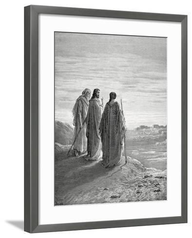 Jesus and the Disciples of Emmaus. Engraving. 19th Century.--Framed Art Print