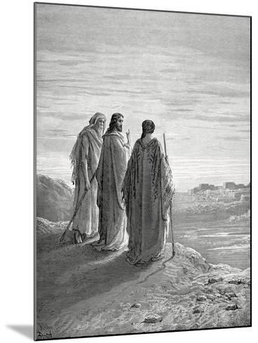 Jesus and the Disciples of Emmaus. Engraving. 19th Century.--Mounted Giclee Print