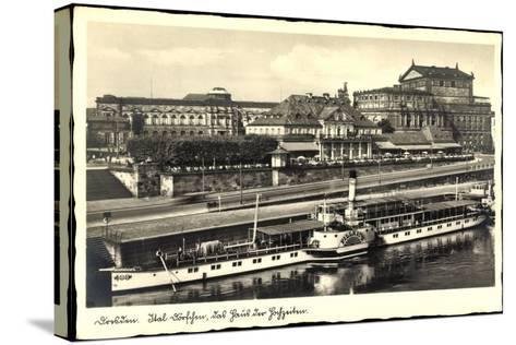Dresden, Dampfer Pillnitz, Ital. Dörfchen, Café--Stretched Canvas Print