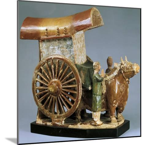 Cart Pulled by Ox, Glazed Tri-Color Pottery Funerary Model, China--Mounted Giclee Print