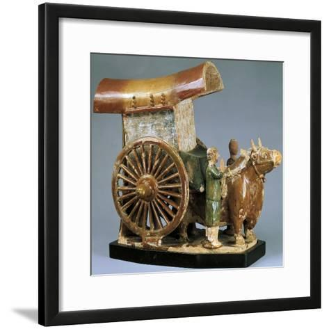 Cart Pulled by Ox, Glazed Tri-Color Pottery Funerary Model, China--Framed Art Print