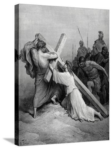 Jesus Fall under the Weight of the Cross--Stretched Canvas Print