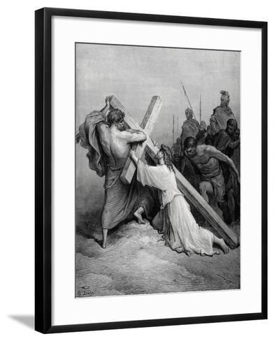 Jesus Fall under the Weight of the Cross--Framed Art Print