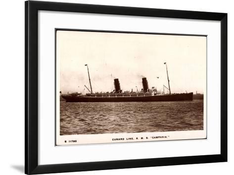 Cunard Line, R.M.S. Campania, Dampfschiff in Fahrt--Framed Art Print