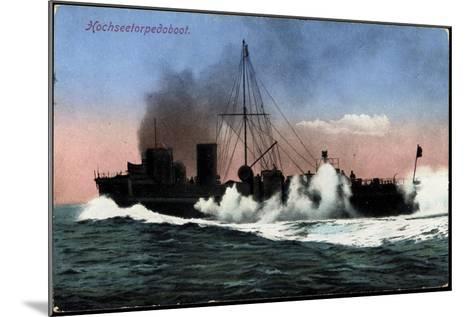 Kriegschiffe, Hochseetorpedoboot Auf See--Mounted Giclee Print