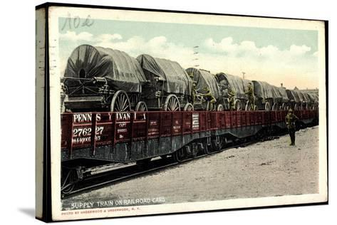 Supply Train on Railroad Cars, Pennsylvania--Stretched Canvas Print