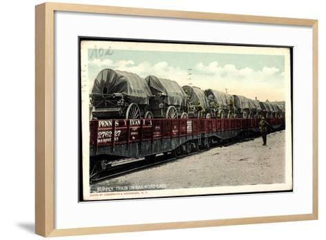 Supply Train on Railroad Cars, Pennsylvania--Framed Art Print