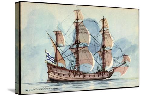 Künstler Haffner, L., Segelschiff, Flûte, 3 Master--Stretched Canvas Print