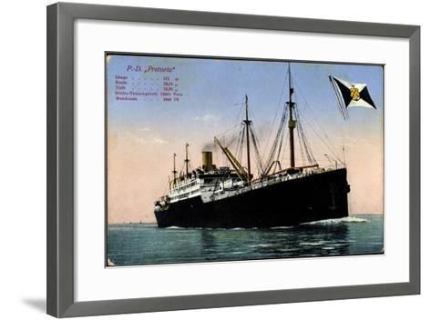 P.D. Pretoria, Hapag, Dampfschiff, Fahne--Framed Art Print