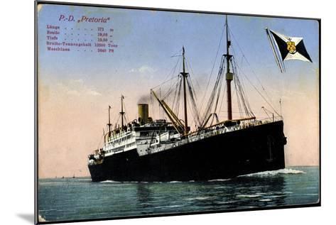 P.D. Pretoria, Hapag, Dampfschiff, Fahne--Mounted Giclee Print