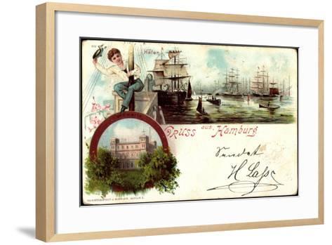 Litho Hamburg Harburg, Segelschiffe Im Hafen, Seewarte--Framed Art Print