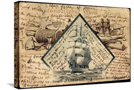 Litho Norddeutscher Lloyd Bremen, Dampfer Preußen--Stretched Canvas Print