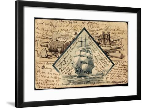 Litho Norddeutscher Lloyd Bremen, Dampfer Preußen--Framed Art Print
