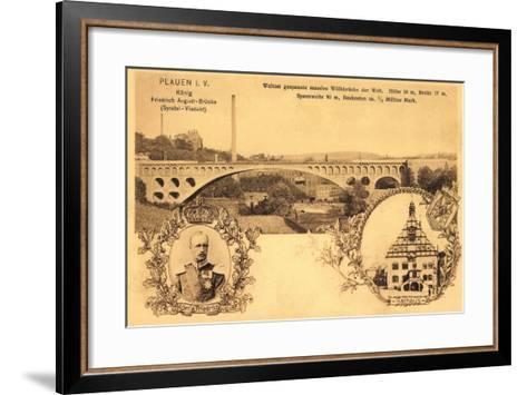 Plauen Vogtland, Friedrich August Br?cke, Rathaus--Framed Art Print