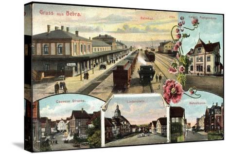 Bebra, Bahnhof Mit Eisenbahn, Postamt, Lindenplatz--Stretched Canvas Print
