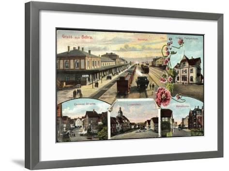 Bebra, Bahnhof Mit Eisenbahn, Postamt, Lindenplatz--Framed Art Print