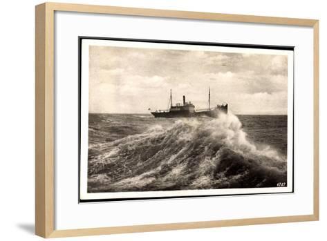 Rügenwalde Pommern, Schiff Auf Hoher See, Welle--Framed Art Print