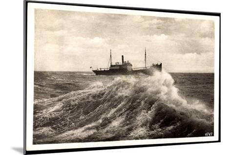 Rügenwalde Pommern, Schiff Auf Hoher See, Welle--Mounted Giclee Print