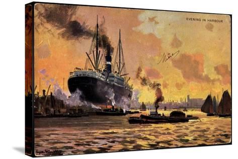 Künstler Evening in Harbour, Steamer, Boats--Stretched Canvas Print
