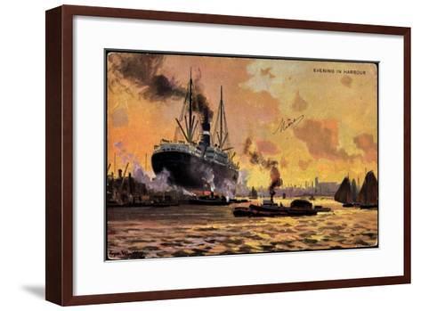 Künstler Evening in Harbour, Steamer, Boats--Framed Art Print