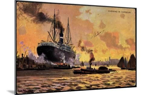 Künstler Evening in Harbour, Steamer, Boats--Mounted Giclee Print